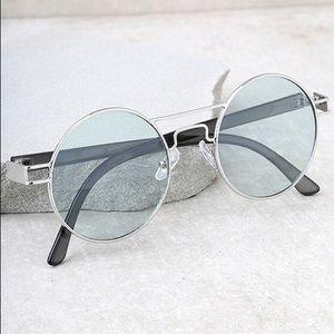 Yoko Silver and Green Round Sunglasses